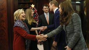 The Duke and Duchess of Cambridge shake hands with Hillary and Chelsea Clinton