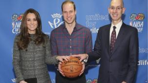 Duke and Duchess of Cambridge with NBA commissioner Adam Silverwhile