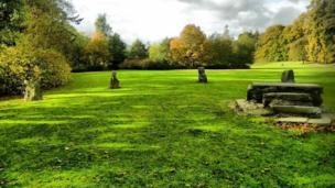 Gorsedd stones at Dolerw Park, Newtown, Powys.