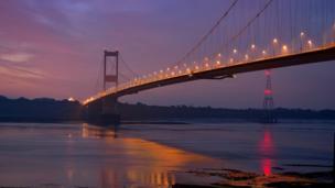 Sunrise over the Severn Bridge