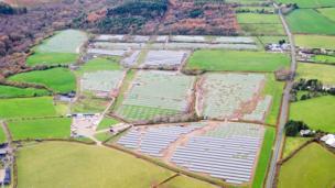 A solar farm under construction just north of Llanelli