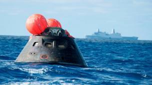 Orion capsule after splashdown