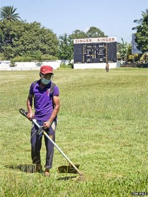 Man cutting the grass