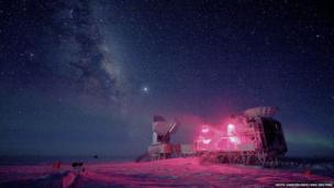 The 10-meter South Pole Telescope and the BICEP 2 (Background Imaging of Cosmic Extragalactic Polarization) Telescope at Amundsen-Scott South Pole Station is seen against the night sky with the Milky Way