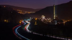 Light trails near Rhondda Heritage Park