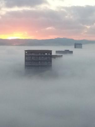 Flats in the mist