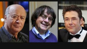 A combination of file photos made on January 7, 2015 shows (from L) French cartoonist of the satirical newspaper Charlie Hebdo Georges Wolinski posing in Paris on November 15, 2006, cartoonist Jean Cabut, aka Cabu, posing in Paris on October 12, 2012, French cartoonist Tignous posing in Cannes on May 17, 2008