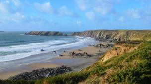 Marloes sands in Pembrokeshire, beautiful day walking the coast path.