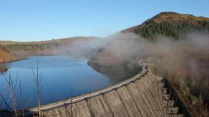 Clewedog Dam above Llanidloes, with the mist rising on a frosty morning, by Helen Stephens