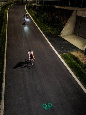 Cyclists using the Blaze Laserlight