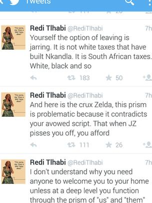 Screen shot of Redi Tlhabi's twitter timeline