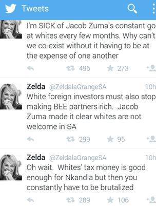 Screen shot of Zelda La Grange twitter timeline