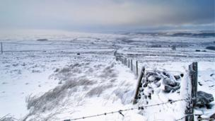 Snowy landscape in North Yorkshire
