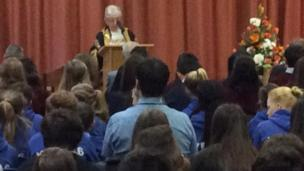 Swansea Lord Mayor Ceinwen Thomas spoke to pupils at a memorial service in Swansea