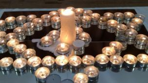 A candle display was part of the memorial service at Bishop Vaughan Catholic Comprehensive School in Swansea