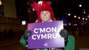 fan holding a cymru sign