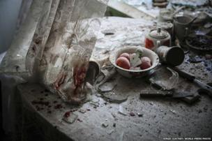 Damaged goods lie in a kitchen in downtown Donetsk, Ukraine, 26 August 2014