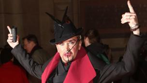 """Steve Strange attends the private view of """"David Bowie Is"""" at Victoria & Albert Museum in London in 2013"""