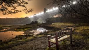 The Britannia Bridge linking Anglesey to the mainland taken by Aled Humphreys from Caernarfon