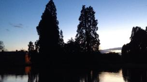 Newport's Tredegar House as the sun sets. Taken by Lucy Geen from Cardiff