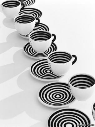 Black and white coffee cups and saucers of Cafe de Stijl's, San Francisco