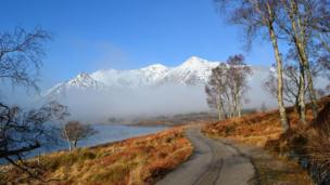 Road alongside Loch Clair