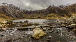 This photo of Cwm Idwal in Snowdonia showing snow on the peaks of the Glyderau range was taken by Stephen Morris, of St Asaph.
