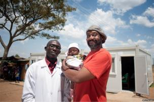 Head Clinician Francis is pictured with Lenny Henry and baby Dorothy
