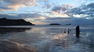 Elizabeth Rees took this picture while taking an evening stroll along Rhossili beach, Gower