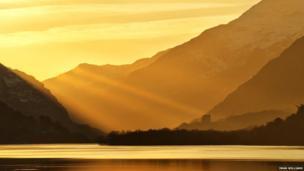 Sunrise over Dolbadarn castle, taken from Brynrefail Bridge, Iwan Williams from Llanrug