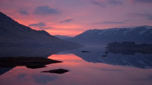 Sunrise over loch