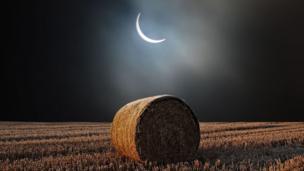 Eclipse over haystack