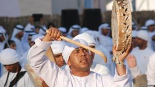 Drummer at the Qasa Al Hosn festival, Abu Dhabi