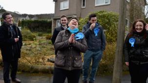 Ruth Davidson campaigns in Edinburgh