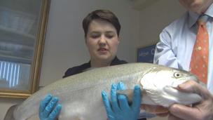 Ruth Davidson with a fish