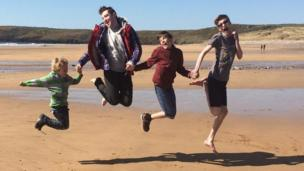 Dai Phillips' daughter Tammie, of Milford Haven, took this photo of, her brother, her son and two of her nephews playing on the beach at Freshwater West in Pembrokeshshire