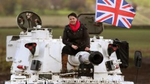 Ruth Davidson on a tank at Auchterhouse Country Sports.
