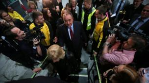 Alex Salmond at the count for Banff and Buchan, Gordon, and West Aberdeenshire and Kincardine