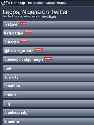 Twitter Trendsmap for Lagos, Nigeria