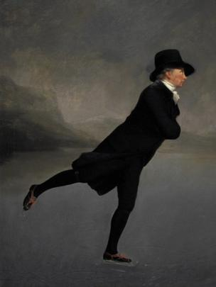 Revd Dr Robert Walker Skating on Duddingston Loch, (c. 1795), by Sir Henry Raeburn