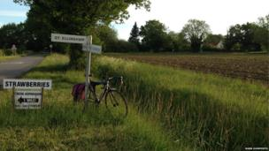 Bicycle and signpost in Norfolk