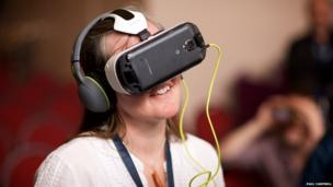 XpoNorth attendee using a VR device