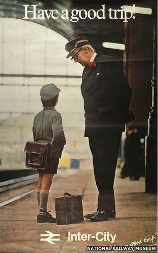 A British Rail poster featuring a guard helping a child from 1978