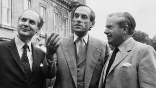 Liberal Party politicians (L-R) Emlyn Hooson, Jeremy Thorpe and Lord Lloyd
