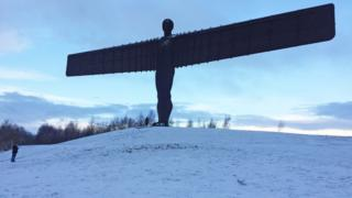 A very snowy Angel of the North