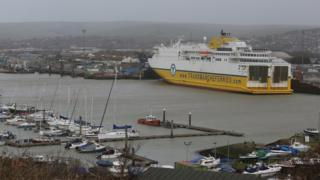 A DFDS Transmanche Ferry in Newhaven harbour. Stock Image