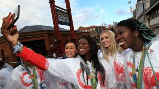 Jessica Ennis-Hill, Asha Philip, Louise Bloor and Anyika Onuora pose for a selfie during the Olympics & Paralympics Team GB - Rio 2016 Victory Parade