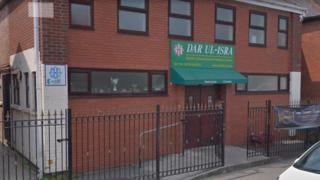 The attack is alleged to have happened outside the Dar Ul-Isra Mosque, in Cardiff