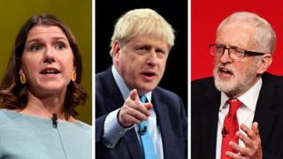 Jo Swinson, Boris Johnson and Jeremy Corbyn