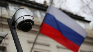 Security camera outside the Russian embassy in London